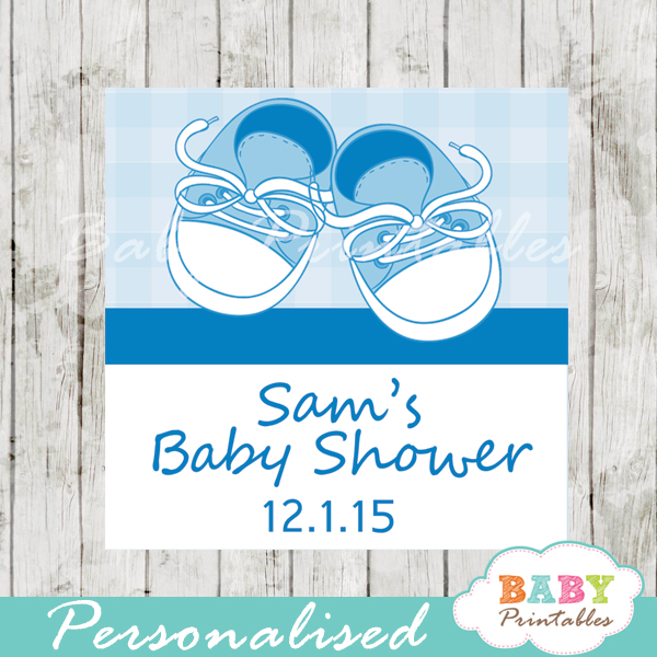 Baby shoes baby printables blue baby shoes baby shower square labels d171 negle Gallery