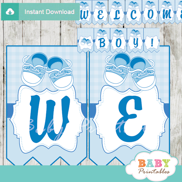 printable baby shoes blue baby shower welcome banner decoration