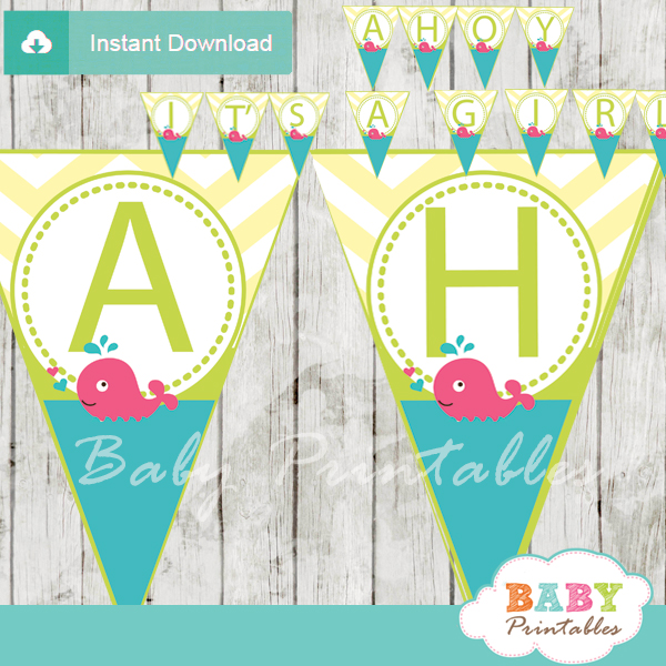 printable pink whale it's a girl baby shower banner decoration