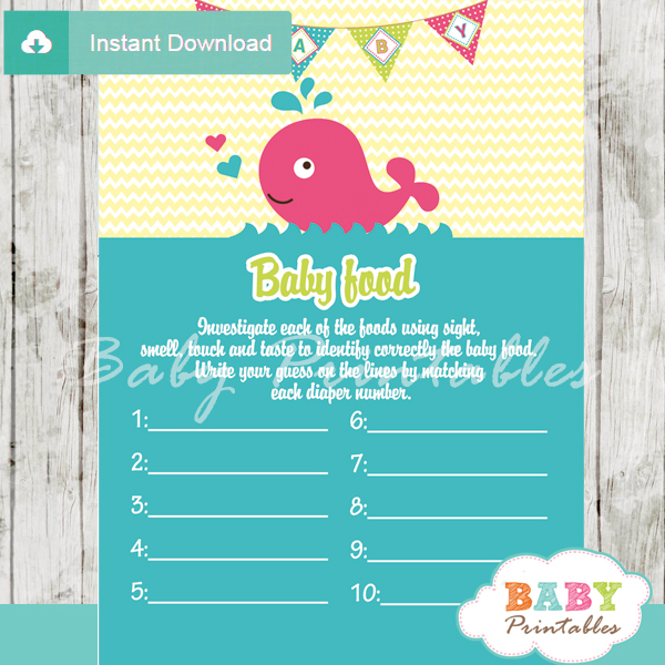 pink whale printable baby shower games blind tasting baby food