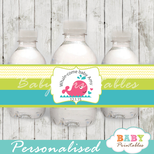 custom pink whale nautical baby shower bottle wrappers diy
