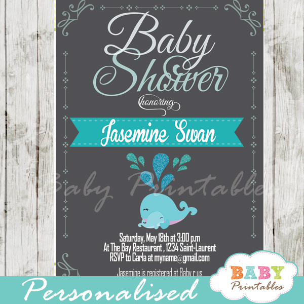 Blue Whale Baby Shower Chalkboard Invitation Boys - D181 - Baby