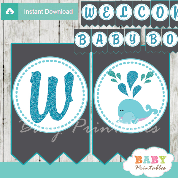 printable blue whale welcome boy baby shower banner decoration