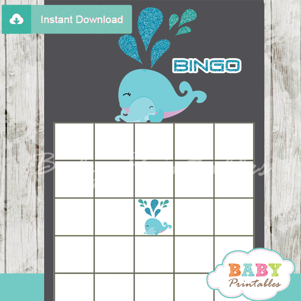 cute blue whale themed baby shower bingo games cards