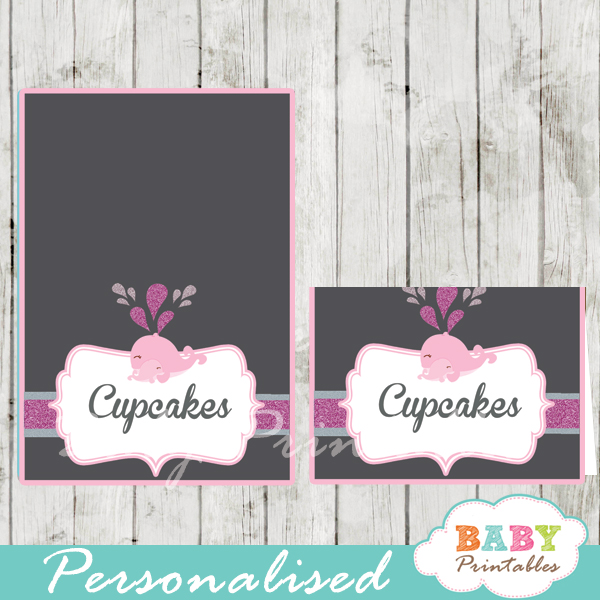 printable pink whale custom food label cards