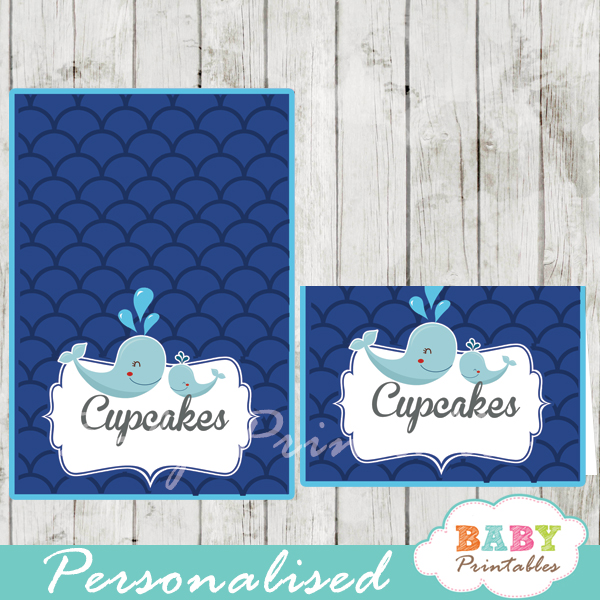 printable navy blue scallop pattern whale custom food label cards