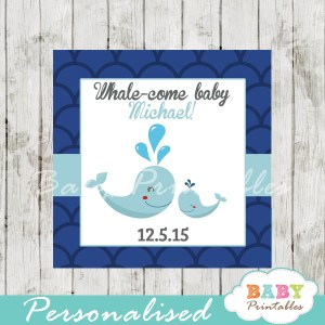 printable navy blue scallop pattern custom whale baby shower favor tags