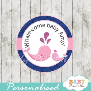 personalized navy blue scallop pattern whale baby shower favor labels