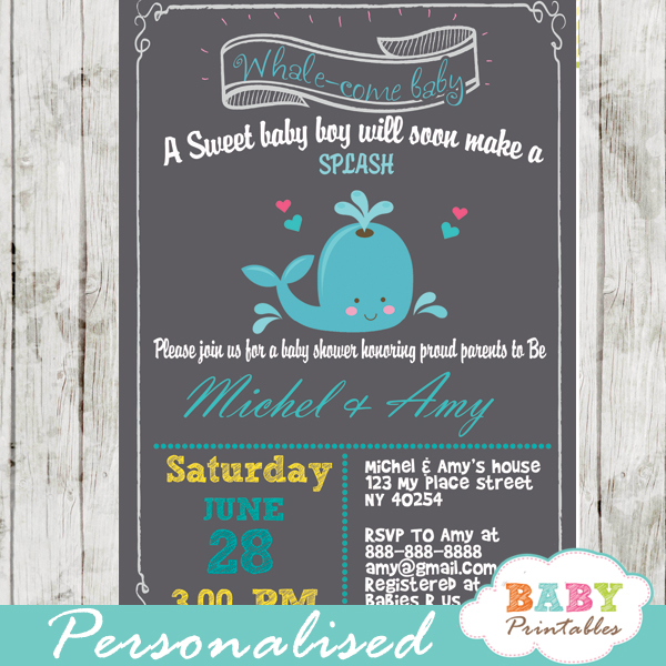 Blue Gray Whale Baby Shower Invitation Boys D185 Baby Printables