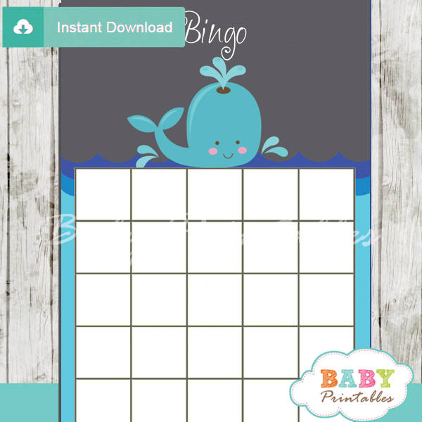 printable whale baby shower bingo games cards