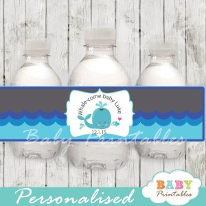 blue and grey personalized whale baby shower bottle wrappers diy
