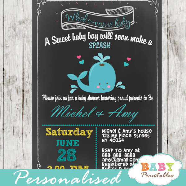 printable little blue whale baby shower invitations for boys