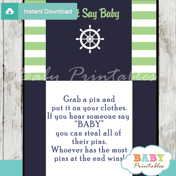 nautical stripes printable game Dont Say Baby pdf