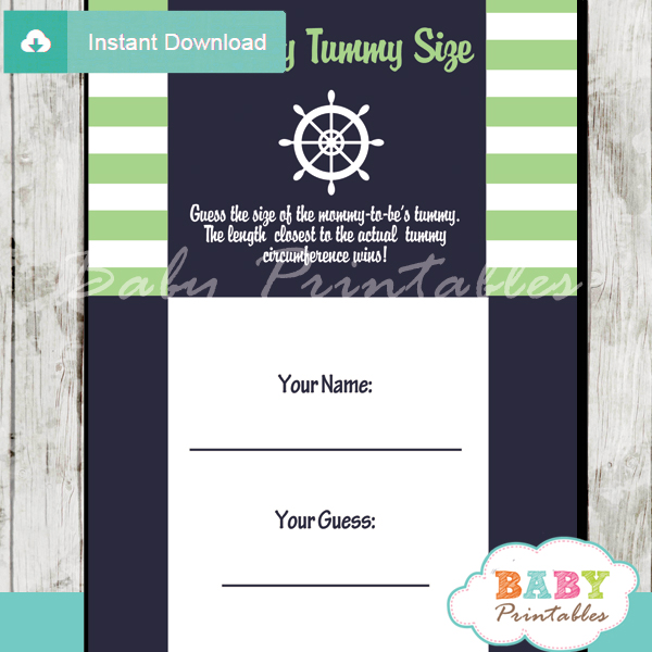 nautical stripes printable measure the belly baby shower game