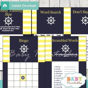navy and yellow printable nautical striped baby shower games package