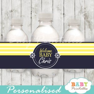 navy and yellow personalized nautical baby shower bottle wrappers diy