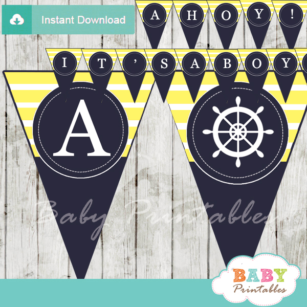 navy and yellow printable nautical stripes ahoy baby shower banner decoration personalized