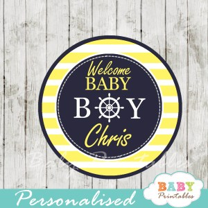 personalized navy and yellow nautical baby shower cupcake toppers