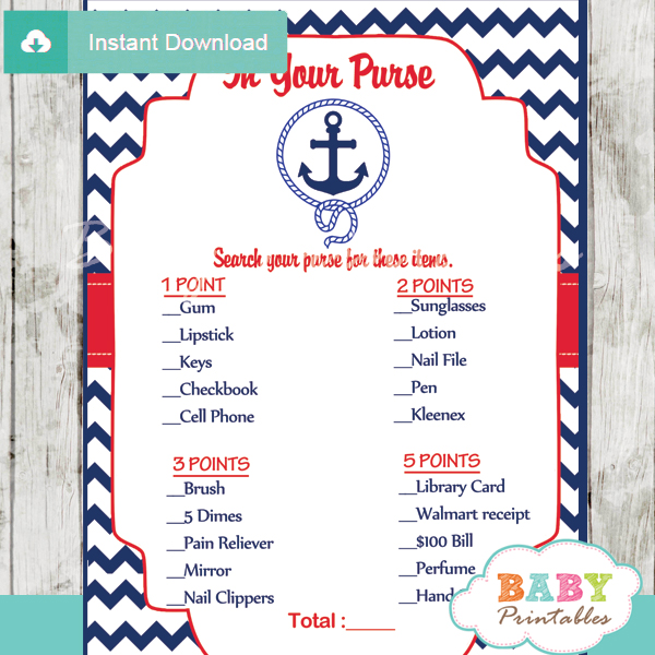 nautical anchor what's in your purse baby shower game printable