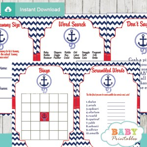 navy and red printable nautical anchor baby shower games package