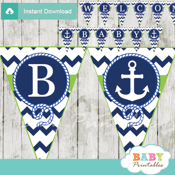 blue and green printable nautical anchor baby shower banner decoration personalized