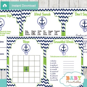 navy and green printable nautical anchor baby shower games package