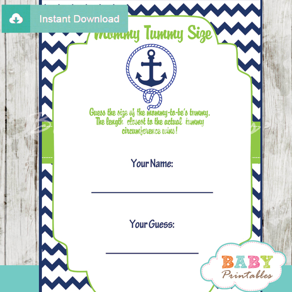 nautical anchor printable measure the belly baby shower game