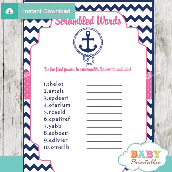 nautical anchor printable baby shower unscramble words game