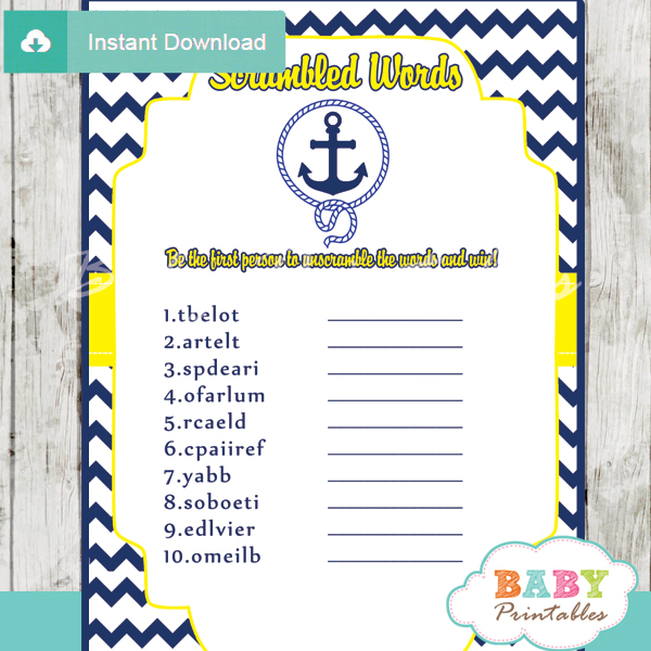 nautical anchor printable baby shower unscramble words game