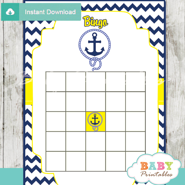 nautical anchor printable baby shower bingo games cards