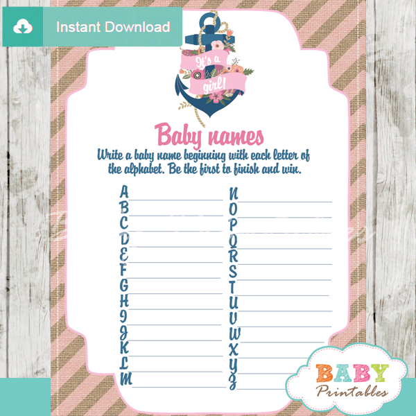 floral printable nautical anchor Name Race Baby Shower Game cards