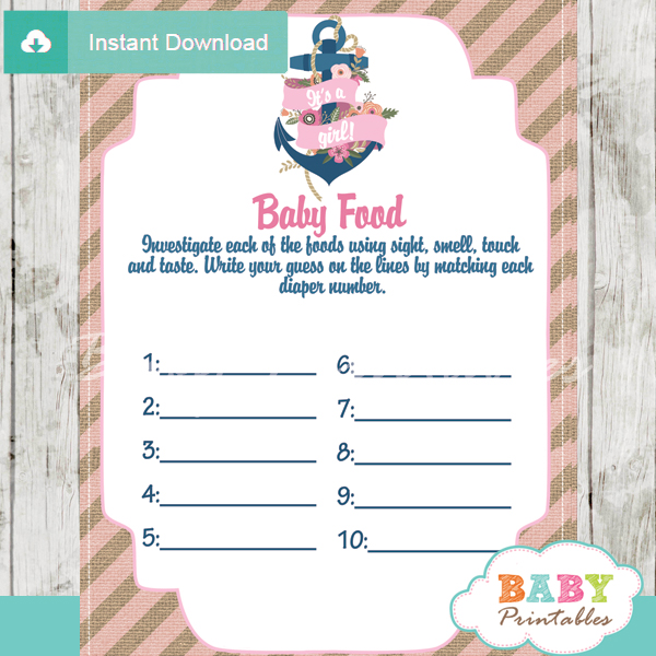 printable nautical floral anchor baby shower games blind tasting baby food