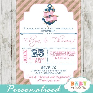 printable nautical anchor floral baby shower invitations girl burlap