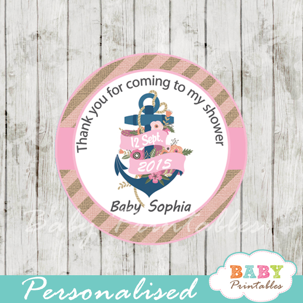 personalized navy pink nautical floral anchor baby shower favor toppers