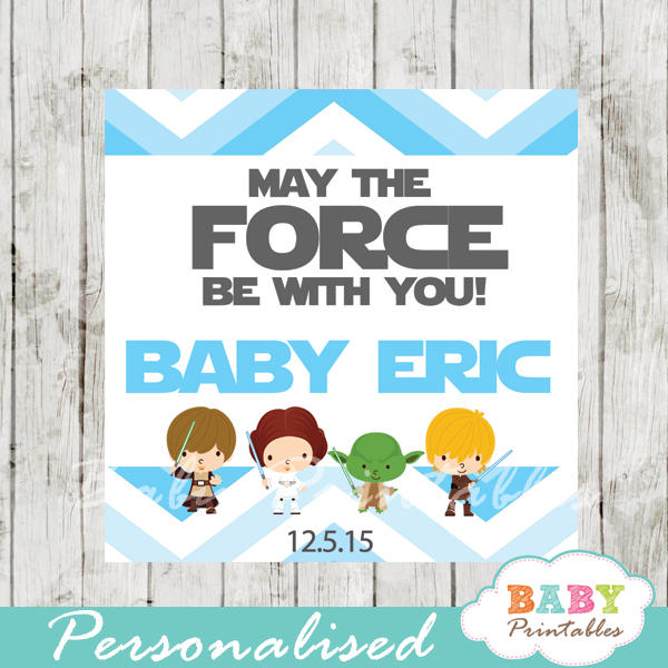 Blue Chevron Star Wars Baby Shower Square Labels U2013 D205