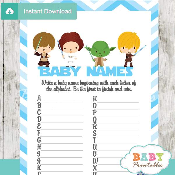 printable star wars Name Race Baby Shower Game cards