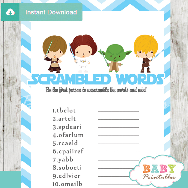 star wars printable baby shower unscramble words game