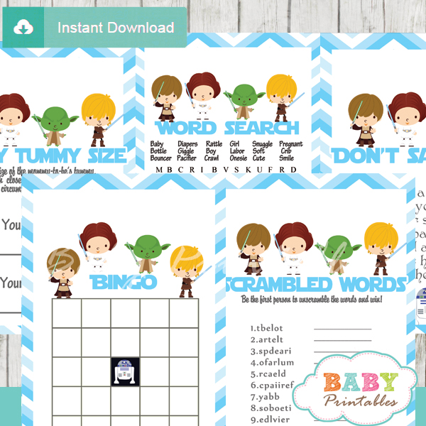 Blue Chevron Star Wars Baby Shower Games U2013 D205