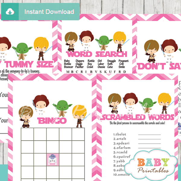 Pink Chevron Star Wars Baby Shower Games U2013 D206