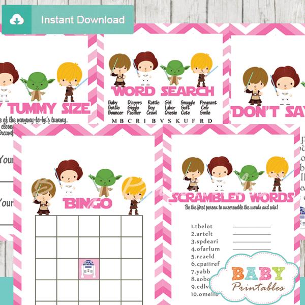 printable star wars baby shower fun games ideas