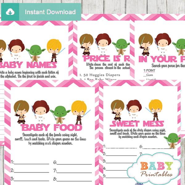printable star wars baby shower games package