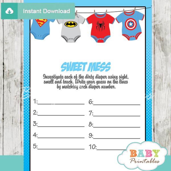Superhero Onesie Baby Shower Games - D210 - Baby Printables