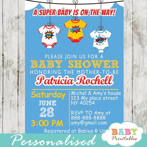 printable superhero bodysuits baby shower invitation personalized