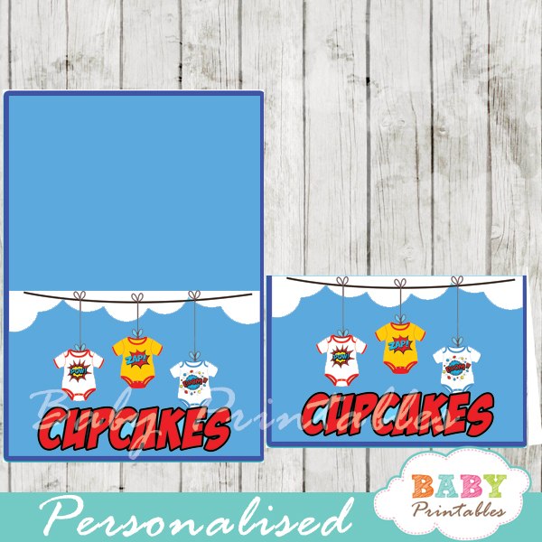 printable superhero jumpsuits personalized food label cards