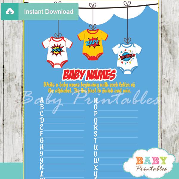 printable superhero Name Race Baby Shower Game cards
