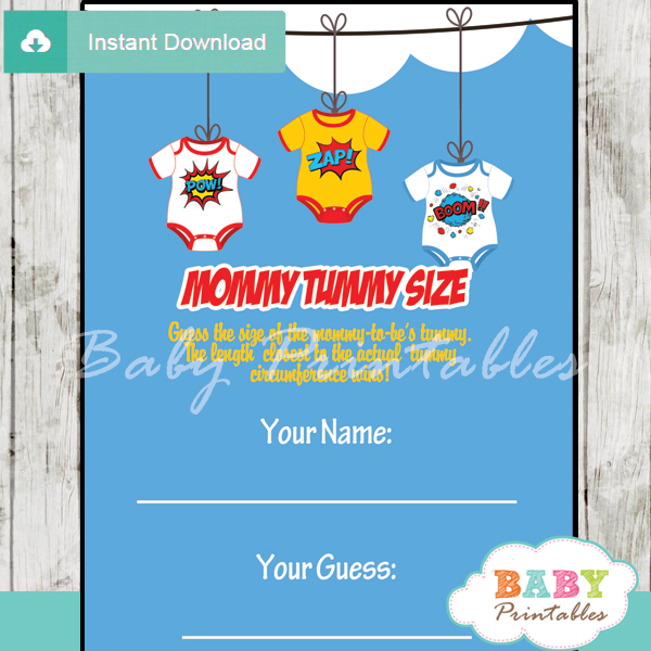superhero printable measure the belly baby shower game