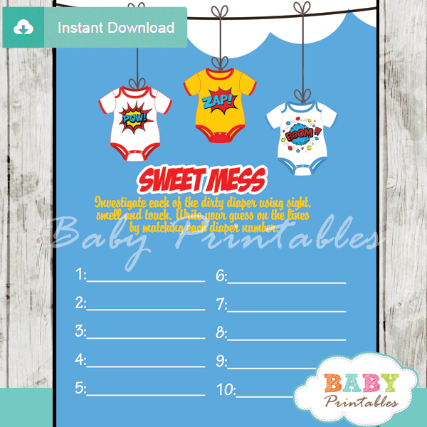 printable superhero Baby Shower Game Guess the Sweet Mess Dirty Diaper