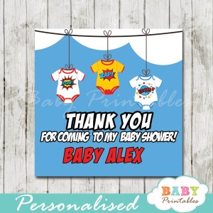 printable custom superhero baby favor gift tags