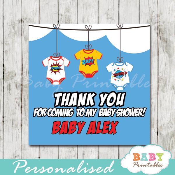 printable custom superhero baby favor gift tags