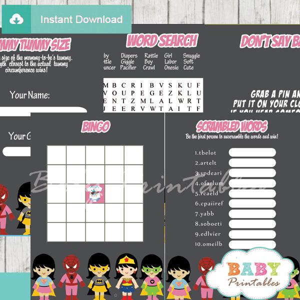 printable superhero girls baby shower fun games ideas